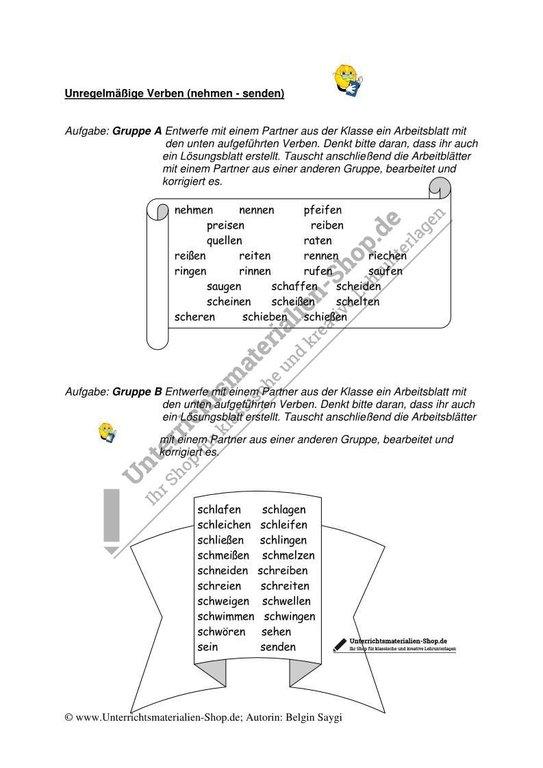 Unregelmäßige Verben - Arbeitsblatt 4 nehmen - senden