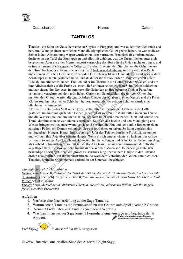 Klassenarbeit Griechische Sagen Tantalos Nacherzählung